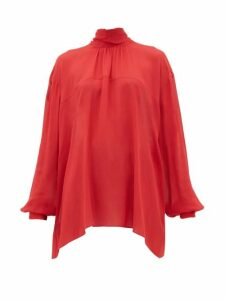 Rochas - High-neck Georgette Blouse - Womens - Red