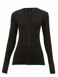 Rochas - Logo-embroidered Cotton Cardigan - Womens - Black