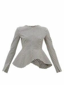 A.w.a.k.e. Mode - Peplum-hem Gingham Top - Womens - Black White