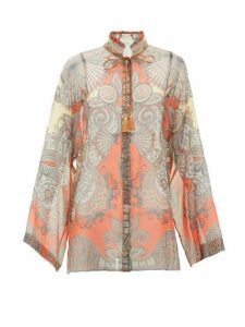 Etro - Girasole Tie-neck Printed Silk-chiffon Blouse - Womens - Orange Multi
