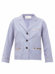 La Prestic Ouiston - Jacquard-stripe Cotton-poplin Blouse - Womens - Blue Multi