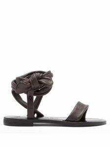 Álvaro - Aroa Wraparound Leather Sandals - Womens - Dark Brown