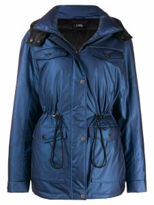 Karl Lagerfeld hooded puffer jacket - Blue
