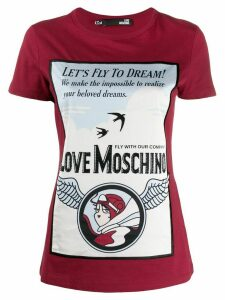 Love Moschino printed logo t-shirt - Red