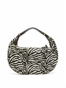 Staud - Sasha Zebra-stripe Calf-hair Leather Bag - Womens - Black White