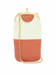 Marni - Lizard-embossed Leather And Canvas Phone Bag - Womens - Orange Multi