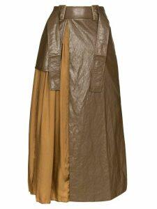 Rejina Pyo high-waist pleated maxi skirt - Brown