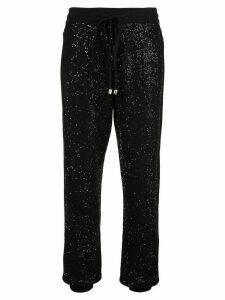 Oscar de la Renta paillette-embellished floral-print sweater - Black
