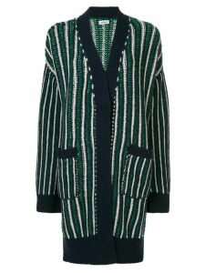 Coohem ivy stripe cardigan coat - Blue