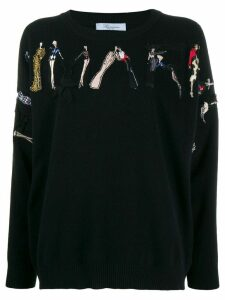 Blumarine ladies embroidered jumper - Black