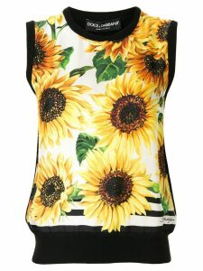 Dolce & Gabbana sunflower print tank top - Black