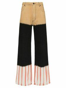 Eckhaus Latta panelled wide-leg jeans - Black