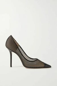 Jimmy Choo - Love 100 Leather-trimmed Fishnet Pumps - Black