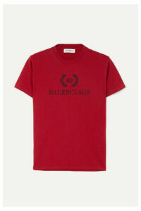 Balenciaga - Printed Cotton-jersey T-shirt - Red