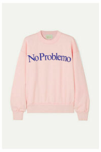 Aries - No Problemo Flocked Cotton-fleece Sweatshirt - Pastel pink