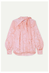 Rosie Assoulin - Flocked Silk-organza Blouse - Pink