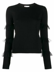 RedValentino tulle-embellished knitted top - Black