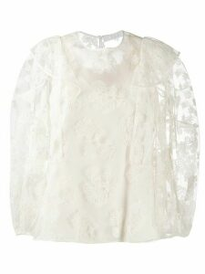 Chloé floral embroidered tulle blouse - White