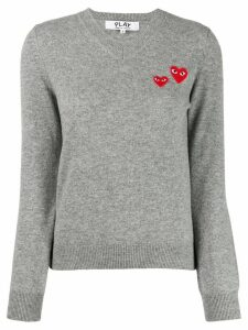 Comme Des Garçons Play long sleeve V-neck sweater - Grey