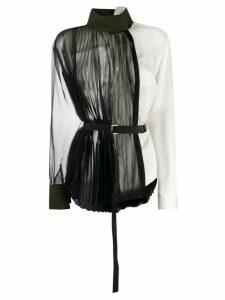 Sacai deconstructed chiffon and satin blouse - Black