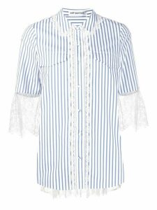 Self-Portrait striped lace trim cotton shirt - White