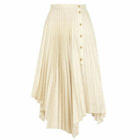 Acne Studios Ilia Striped Asymmetric Midi Skirt