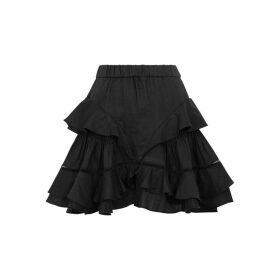 Isabel Marant Étoile Alikaya Black Ruffled Linen Mini Skirt