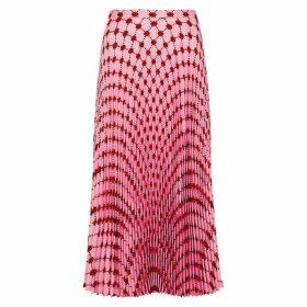 Markus Lupfer Hailey Lip-print Pleated Midi Skirt
