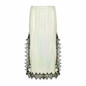 Christopher Kane Iridescent Lace-trimmed Chainmail Midi Skirt