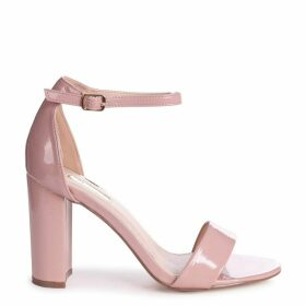 DAZE - Dusky Pink Patent Barely There Block High Heel