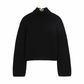 Loewe Daisy Black Ribbed Cotton And Silk Jumper