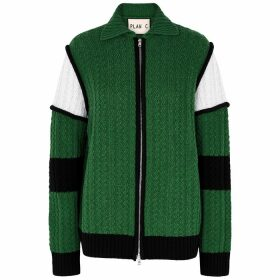 Plan C Green Panelled Wool Cardigan