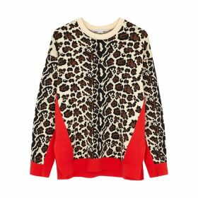 Stella McCartney Leopard-intarsia Stretch-knit Jumper