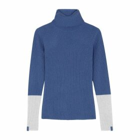 Duffy Blue Roll-neck Ribbed Cashmere Jumper