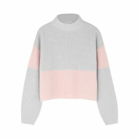 Duffy Grey And Pink Ribbed Cashmere Jumper