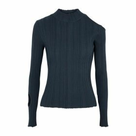 LOROD Navy Cut-out Ribbed-knit Jumper