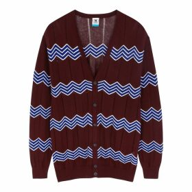 M Missoni Bordeaux Zigzag Cotton-blend Cardigan