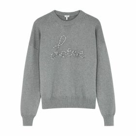 Loewe Grey Logo-appliquéd Cotton Jumper