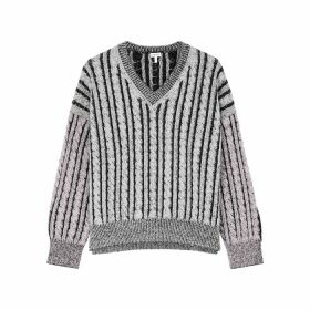 Loewe Grey Cable-knit Wool Jumper