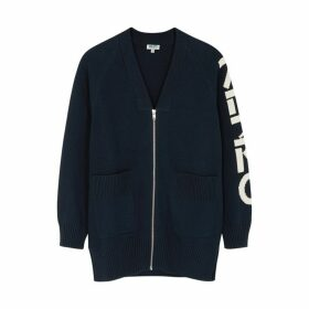 Kenzo Navy Logo-intarsia Cotton-blend Cardigan