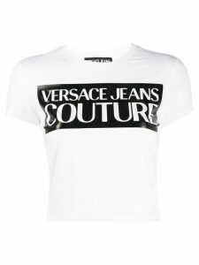 Versace Jeans Couture printed logo crop T-shirt - White