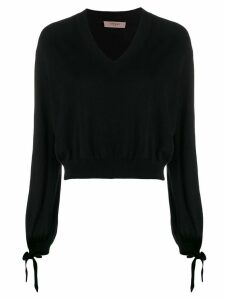 Twin-Set boxy V-neck jumper - Black