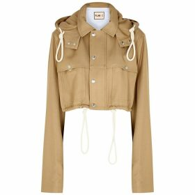 Plan C Camel Cropped Twill Jacket