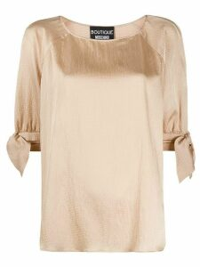 Boutique Moschino textured tie cuff blouse - NEUTRALS