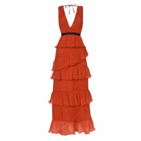 True Decadence True Decadence Orange Plunge Front Tulle Layered Maxi Dress