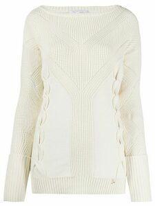 Patrizia Pepe ribbed round neck jumper - NEUTRALS