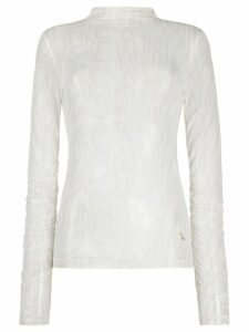 Patrizia Pepe roll neck sheer top - NEUTRALS