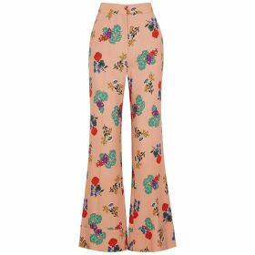 Smythe Pink Floral-print Wide-leg Trousers