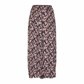Vince Black Floral-print Plissé Trousers