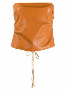 Nanushka Dalhia faux leather top - ORANGE